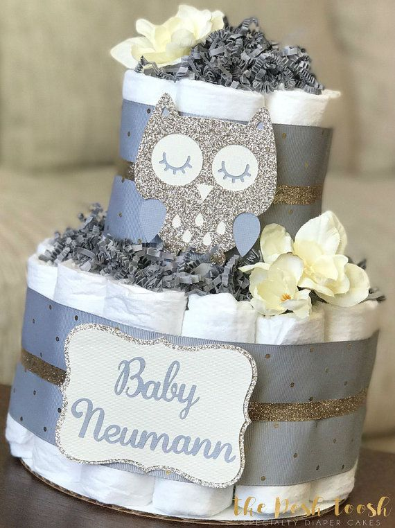 Owl Diaper Cake Baby Shower Centerpiece Decor Baby by ThePoshToosh
