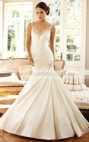 Mermaid Sleeveless Spaghetti Straps Zipper Floor-length Wedding Dresses feaf1100--Hodress