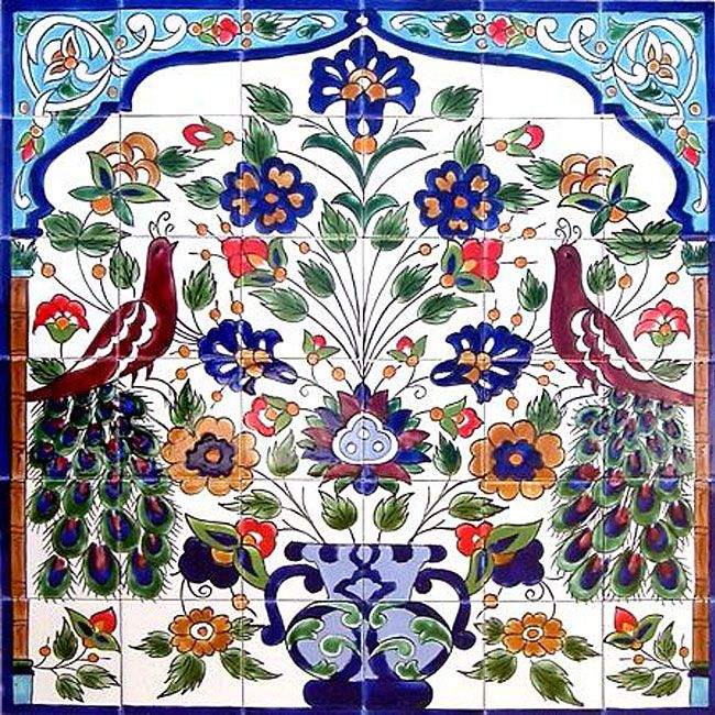 <li>Add exotic style to your home decor with a handmade mosaic tile<li>Mosaic mural tiles for wall covering are hand-painted in Tunisia<li>Wall paneling can be used indoors or outdoors as a wall mural