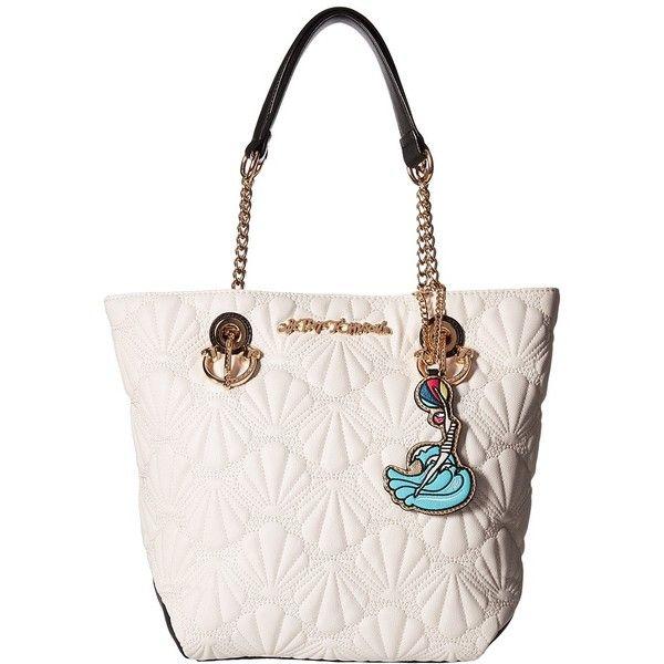 Betsey Johnson Shell Yeah Tote (Cream) Tote Handbags (£85) via Polyvore featuring bags, handbags, tote bags, chain handbags, white tote purse, white tote handbags, chain strap tote and white purse