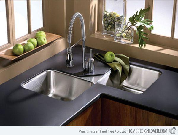 15 cool corner kitchen sink designs home corner sink kitchen rh pinterest com