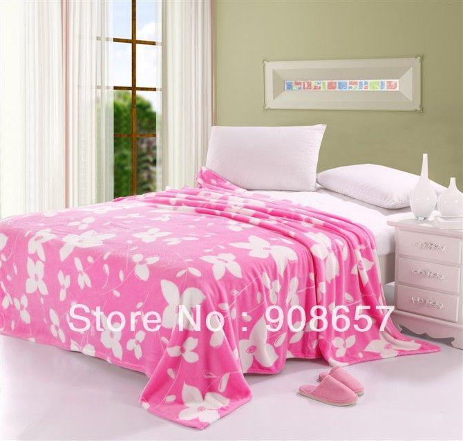 Розовый белый цветочный печатных ватки коралла коралловые бархат одеяло ворс девушки одеяла летом одеяло королева размер другие имеющийся размер