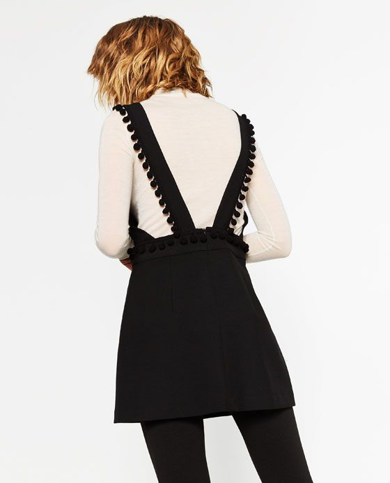 Image 3 of SHORT PINAFORE DRESS WITH TASSELS from Zara