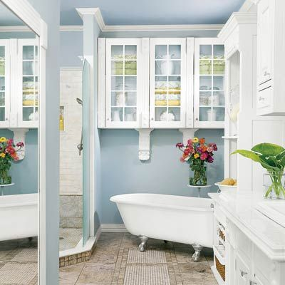 You CAN create a luxurious, vintage bath on a budget. | Photo: Alise O'Brien | We show you how @ thisoldhouse.comOld House, Glasses Shelves, Vintage Bathroom, Blue Wall, Vintage Wardrobe, Colors Blue, Bathroom Ideas, Blue Bathroom, Master Bathroom