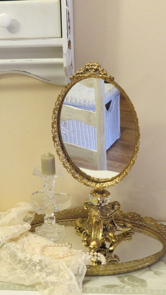 Ornate Gold Vanity Mirror on Base Stand Hollywood by TimesPast72   121 0011 best Gold vanity images on Pinterest   Vanities  Vanity mirrors  . Mirror On A Stand Vanity. Home Design Ideas