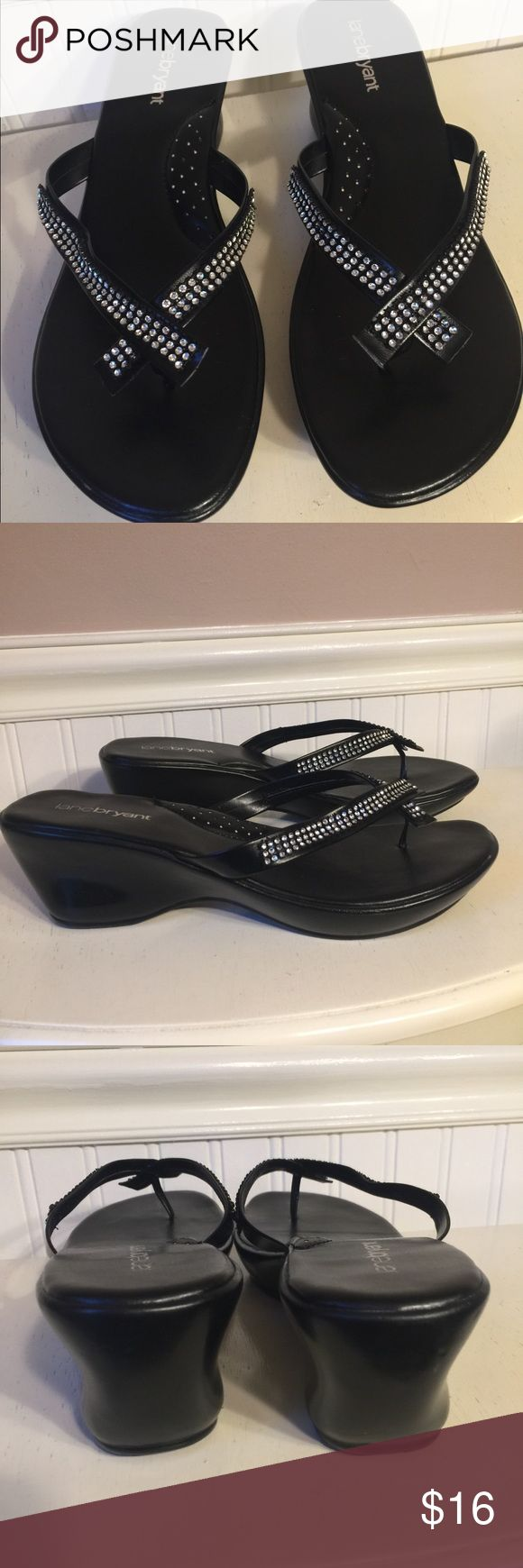 Lanebryant black sparkly flip flops Only worn once, in excellent condition, NO missing stones, great quality and super comfortable, new condition, mini heel, comes from a smoke/ pet free home ✅FAST SHIPPING✅ lanebryant Shoes Sandals