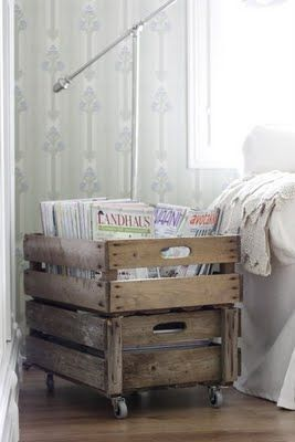 add castor wheels to an old crate for shabby chic look:
