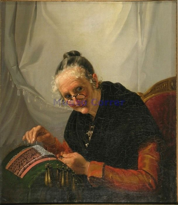 Woman making bobbin lace. Nineteenth-century painting by Antonio Rotta in the Museo Correr in Venice.