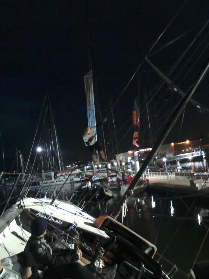 Working on Abu Dhabi's keel in the middle of the night #volvooceanrace PHOTO: MARTYN BAKER