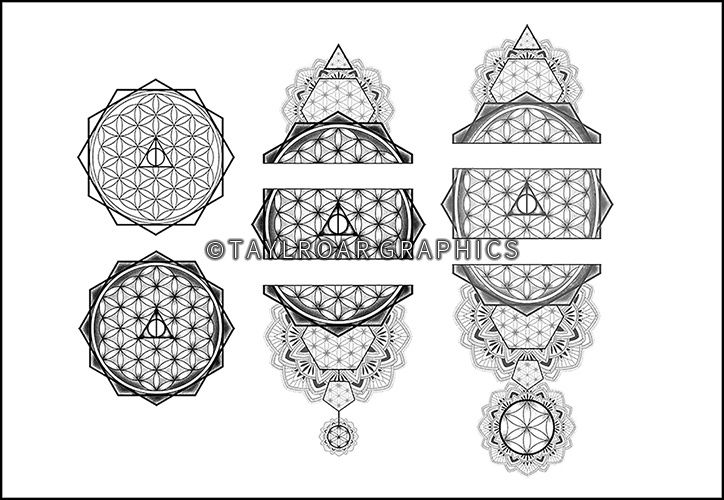 The progress of the Flower of life mandala tattoo design.