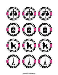 Paris cupcake toppers. Use the circles for cupcakes, party favor tags, and more. Free printable PDF download at http://cupcakeprintables.com/toppers/paris-cupcake-toppers/