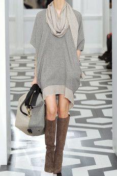 victoria beckham cashmere sweater dress + christian louboutin harletty boots