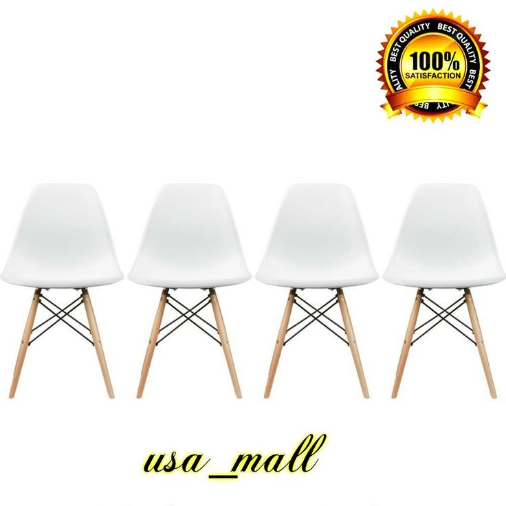 Eames Style Side Chair Natural Wood Legs Dining Room Set 4 White Plastic Seat  #SideChair