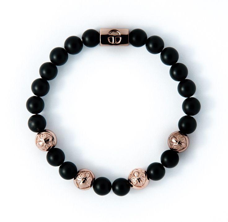 Matte Black Obsidian & Rose Gold plating charm
