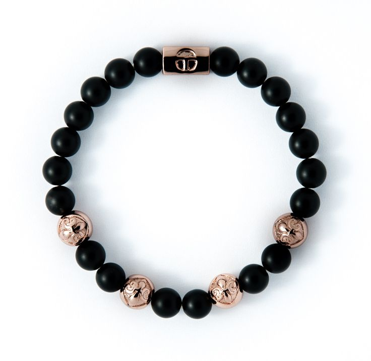 Matte Black Obsidian & Rose Gold plating charm