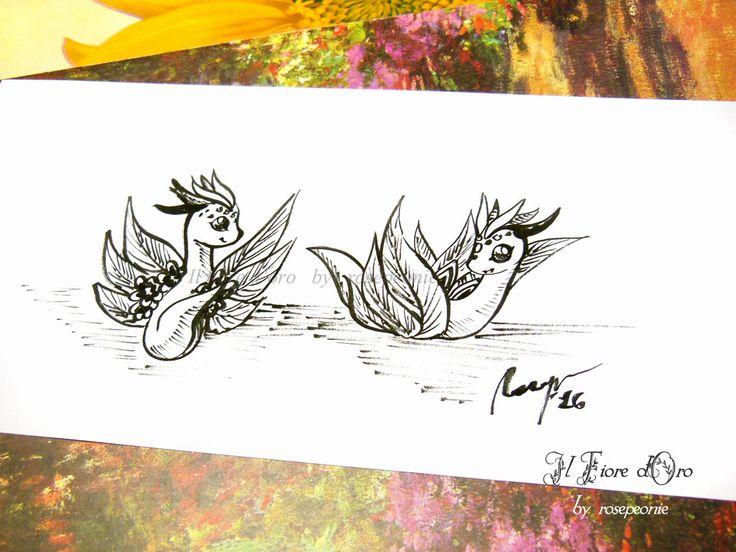 Draghi Wurm che giocano. Disegno Haiku, illustrazione fantasy originale a inchiostro su carta alta qualità, drago mito collezione arte fate di ilFioredOro su Etsy https://www.etsy.com/it/listing/293641531/draghi-wurm-che-giocano-disegno-haiku