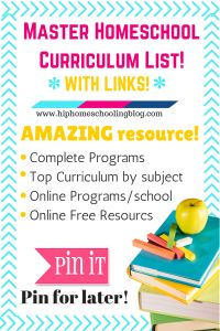 Amazing list of all the top homeschool curriculum with links so you can learn more! Includes free homeschool curriculum, online homeschool programs, language arts homeschool, math, art, and more! Check it out! @HHomeschooling