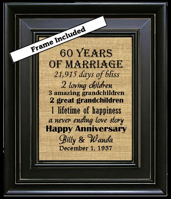 For Sale is an 8x10 60th Anniversary Personalized Framed Burlap Wall Hanging. Perfect for that special couple celebrating an Anniversary and they are customized to include the highlights of the couples journey. Our Anniversary Prints are available for ANY ANNIVERSARY!! The burlap print comes ready to hang in one of our available frame colors. YES the frame is included!! ♥♥♥♥♥♥♥♥♥♥♥♥♥♥♥♥♥♥♥♥♥♥♥♥♥♥♥♥♥♥♥♥♥♥♥♥♥♥♥♥♥♥♥♥♥♥♥♥♥♥♥♥♥♥♥♥♥♥♥ TO PLACE YOUR CUSTOM ORDER, just include the following…