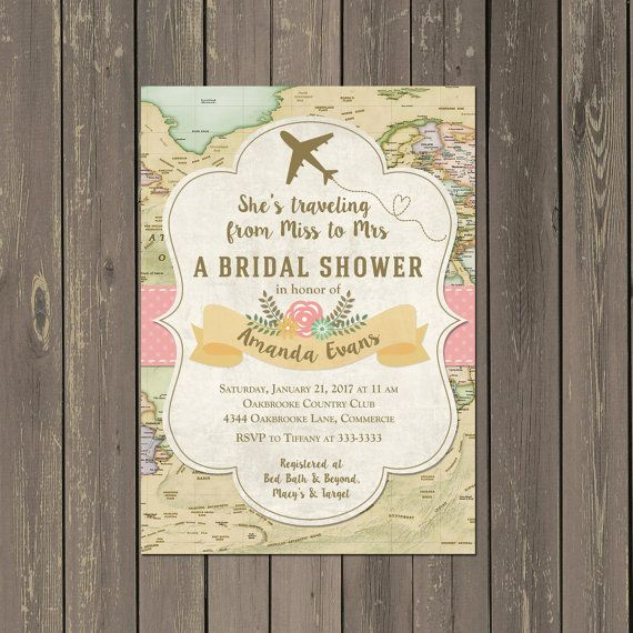Travel Bridal Shower Invitation, Miss to Mrs Travel Themed Shower Invitation, Airplane Shower Invite, Printable or Printed