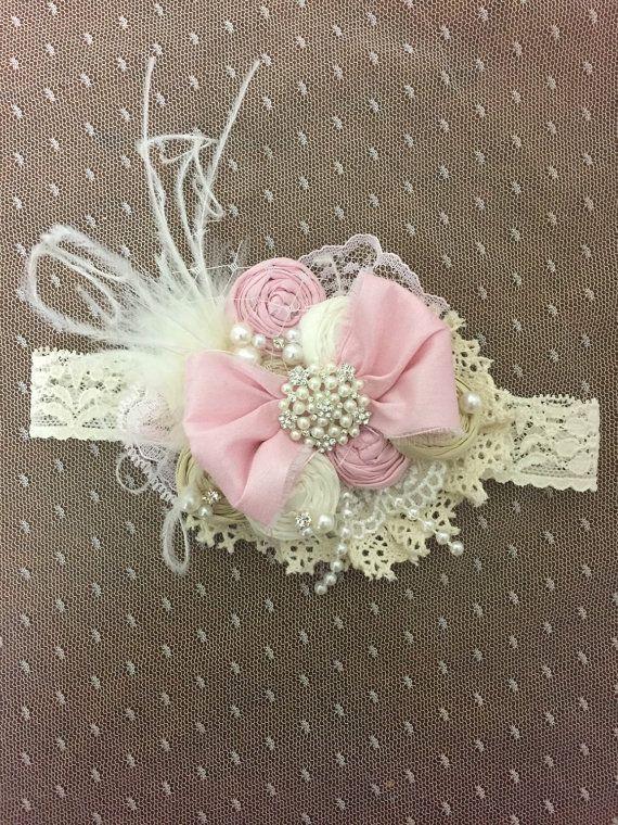 Vintage Dollcake diadema de cinta de color rosa y marfil. Diadema de lazo bebé