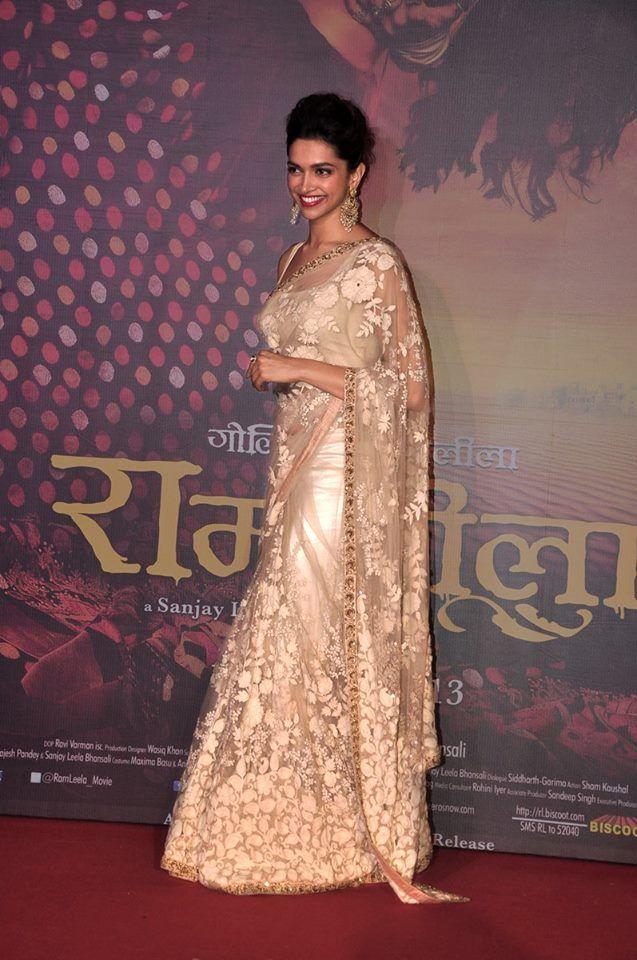 Deepika Padukone in an ivory Sabyasachi sari