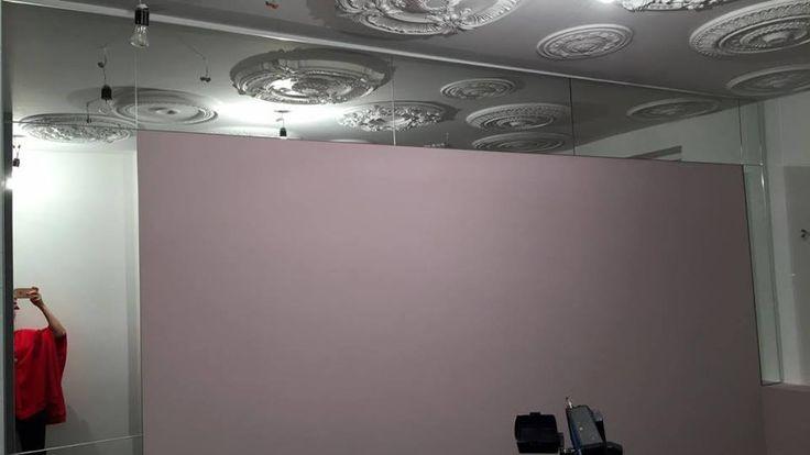 Зеркальные панели 4мм с полировкой. В проекте использовалось зеркало серебро 4мм. Установка панелей производилась с помощью скрытого крепежа. Проект реализован в г. Москве.