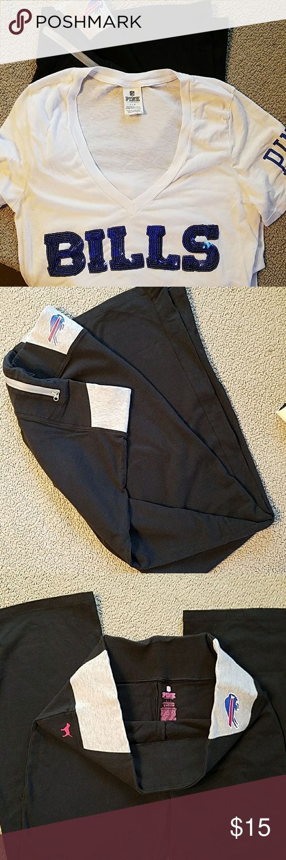 "NFL PINK by Victoria Secret Bills NFL Bills PINK by Victoria Secret with 32"" inseam. Worn once. Black with zip pocket in back. I would throw in the white bills T-shirt for free! PINK Victoria's Secret Pants"