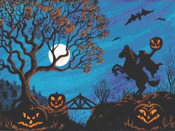 Halloween Cross Stitch Pattern PDF  Headless Horseman by Abracraftdabra, $22.49