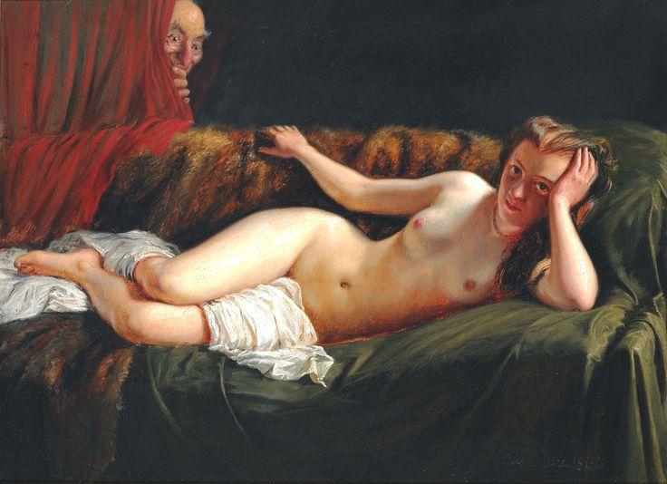 Otto Bache: Interiør med liggende model. Sign. Otto Bache 1862. Olie på lærred. 47 x 64.