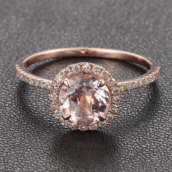 Diamant HALO 7mm ronde anneau de Morganite .27ct pavé de diamants bague griffe broches 14K or Rose bague de fiançailles