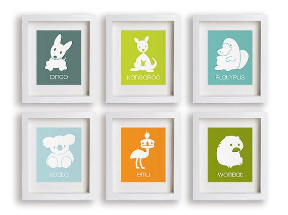 Australian Outback - Set of Six Nursery Art Prints - Children Decor, Nursery Art, Australia, Kids Decor, Playroom Decor, Baby Nursery on Etsy, $59.95