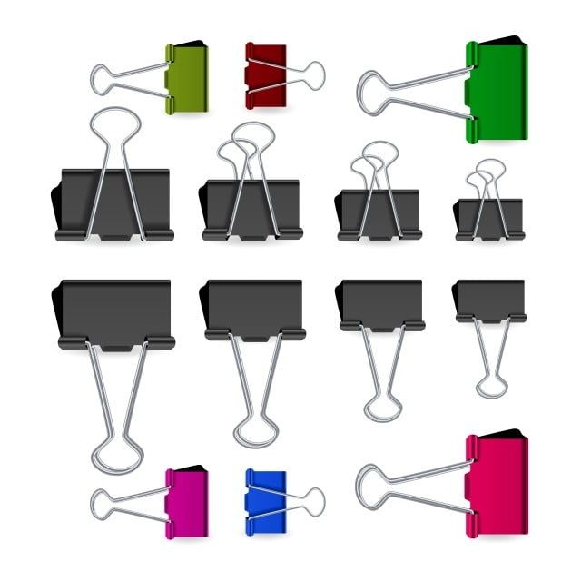Small Binder Clips Vector Isolated On White Realistic Paper Clip Set Binder Clip Red Png And Vector With Transparent Background For Free Download Small Binder Paper Clip Junk Drawer Organizing