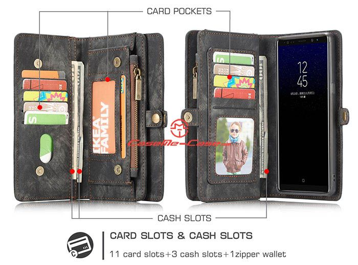 CaseMe Samsung Galaxy Note 8 Zipper Wallet Detachable 2 in 1 Folio Case