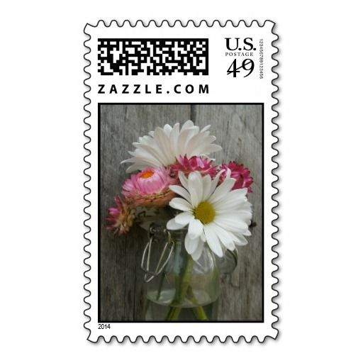 Jewish Wedding Gift Etiquette : Daisies, Strawflowers, & Barnwood Postage Stamps Photo Wedding Stamp ...