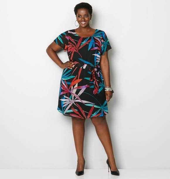 Colorful Leaf Skater Dress.  Colorful leaf prints with a matching belt creates early spring vibes in this plus size skater dress.  #plussize #womensdresses #women #ad