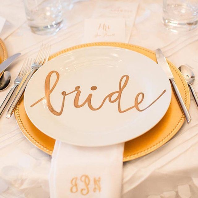 gold custom plate idea for the bride and groom.