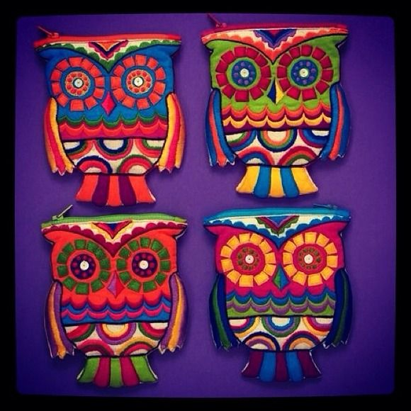 Bags - Owl coin purse change embroidered