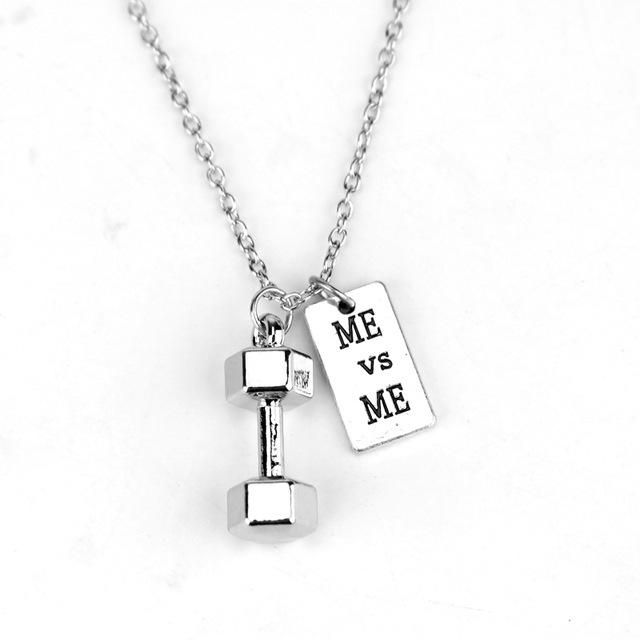 Dumbbell Pendant Chain Necklace Fitness Weightlifting Gym Charm Jewelry