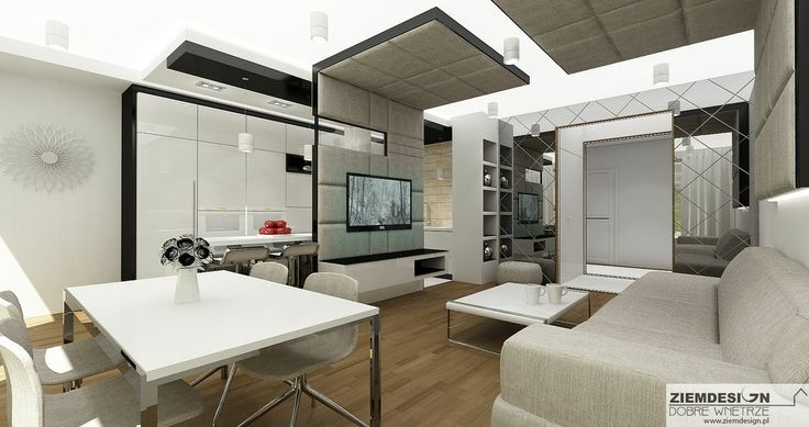 Projekt wnętrza mieszkania wykonany na inwestycji  Zielona Italia w Warszawie