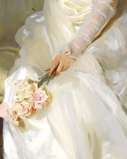 Mrs Joshua Montgomery Sears (detail), 1899. John Singer Sargent, flowers