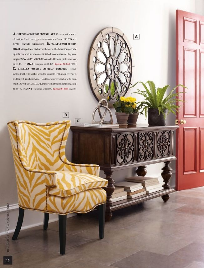 Entryway table/ love that chair (though I'd reupholster)