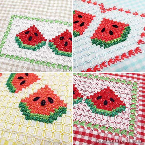 Gingham Embroidery, chicken scratch tutorial - watermelon