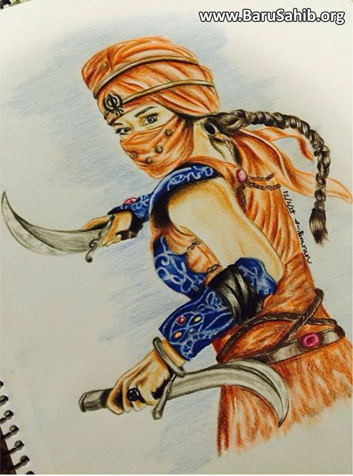 """Art Work Dedicated to Sikhism!  """"She is fearless, humble, and brave.She is Kaur!"""""""