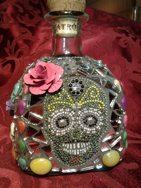 Day of the Dead Patron Bottle Sugar Skull Design by Anitasmosaics, $200.00