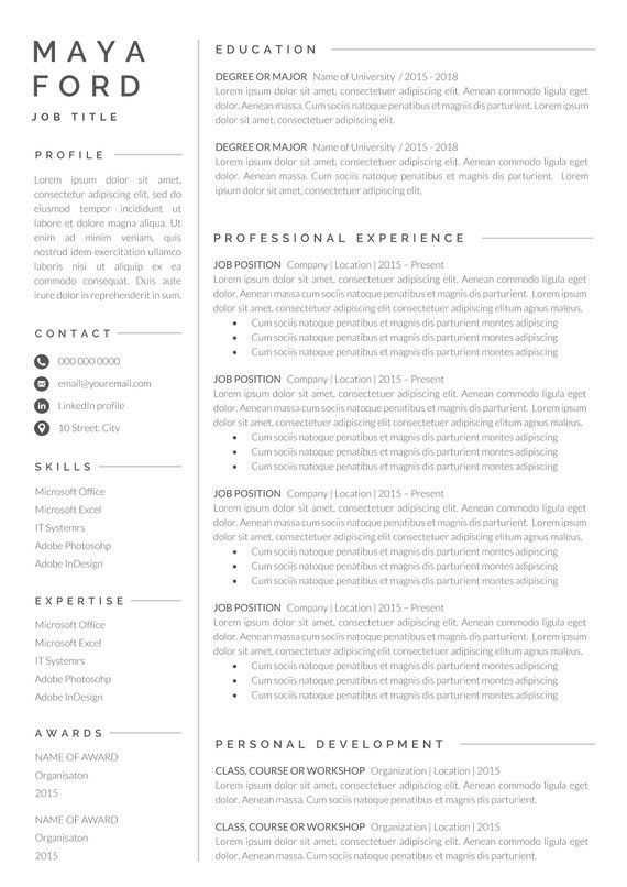 Resume Template One Page Resume Professional Resume Modern Resume Resume Word Cv Template Cover Letter Compact Resume Cv One Page Resume Resume Words Cover Letter For Resume