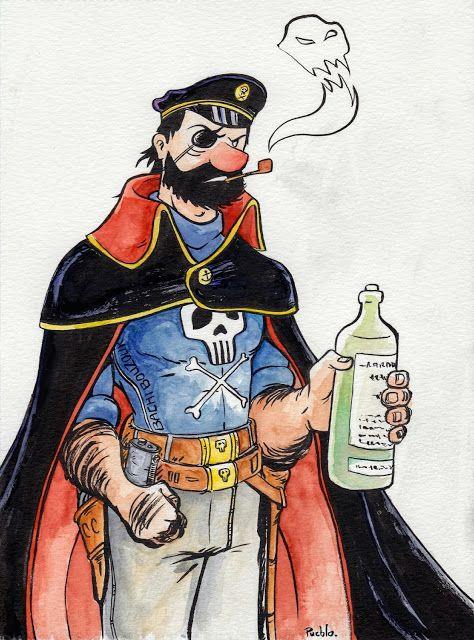 Space Pirate Captain Harlock or Haddock Fanart Crossover