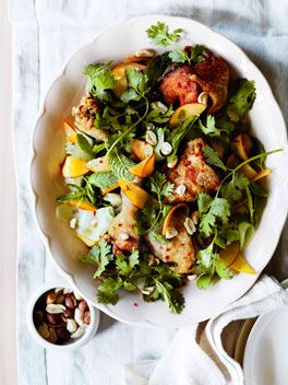 Crisp-skinned Vietnamese chicken with peaches