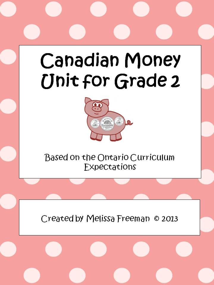 canadian money unit for grade 2  ontario curriculum