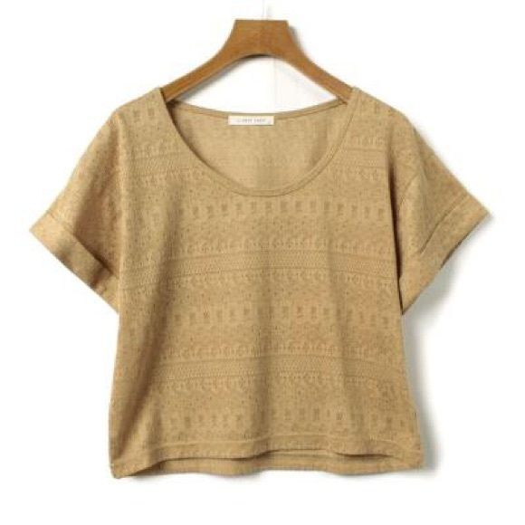 Perfect camel Crop Top knit shirt Alexa Chung Perfect little camel crop top that pairs well with a high waisted skirt or shorts or over a dress. Detailed pattern. Japanese brand. Looks like the crop tops Taylor swift wore with a black midi skirt as shown which is also available for purchase separately  great for  Alexa Chung lovers  Taylor swifties  versatile basics  Japanese mori girl etc . By Lowry's Farm a high end Japanese designer Japanese  Tops Crop Tops