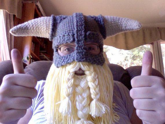 PATROON van de gehaakte PDF Skyrim geïnspireerd Viking helm met afneembaar baard